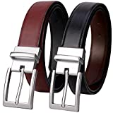 Lavemi Mens Belt Reversible 100% Italian Cow Leather Dress Casual...