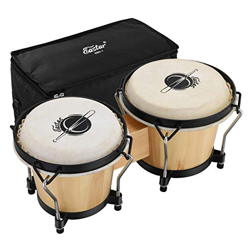 "Eastar Bongo Drums 6"" and 7"" Wood Percussion Instrument Bongos for..."