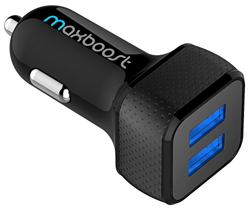 Maxboost Car Charger with SmartUSB Port 4.8A/24W [Black] Charger...