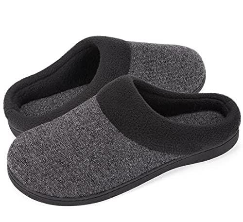 HomeIdeas Men's House Woolen Fabric Memory Foam Slippers, Cozy Bedroom...
