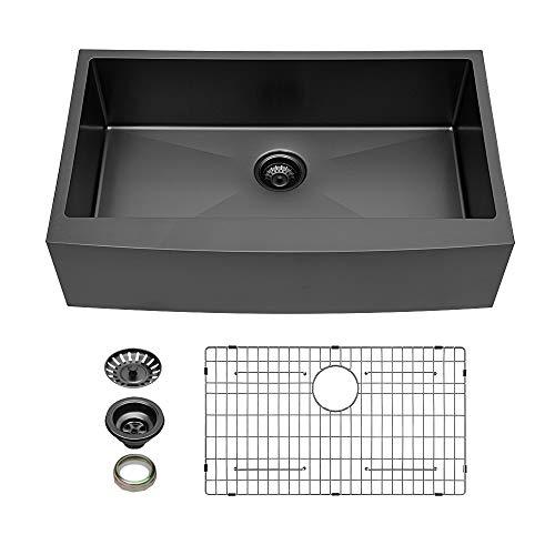 Black Farmhouse Sink - Kichae 33 Inch Black Stainless Farmhouse Sink...