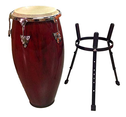 Conga Drum 12' and Stand - RED Wine -World Percussion New!