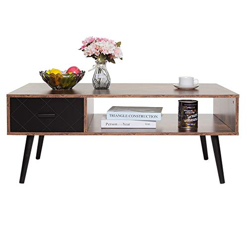 IWELL Mid-Century Coffee Table with 1 Drawer and Storage Shelf for...
