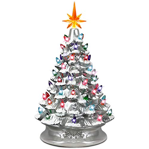 Goplus Pre-Lit Hand-Painted Ceramic Christmas Tree, Tabletop Xmas...