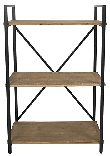 Industrial Small Bookshelf Bookcase Solid Wood 3 Tier Storage Rack...
