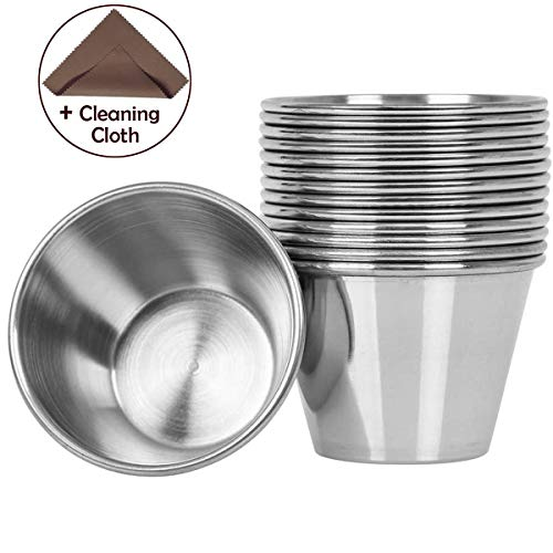 Artcome 14 Pack Stainless Steel Condiment Sauce Cups Great for Dipping...
