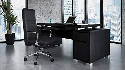 Ford Executive Modern Desk with Filing Cabinets - Black Oak Finish