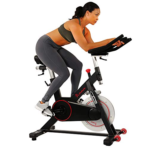 Sunny Health & Fitness Magnetic Belt Drive Indoor Cycling Bike with 44...