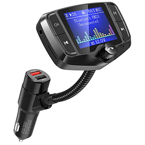 Nulaxy Bluetooth FM Transmitter, 1.8 Inch Display Car Charger Adapter...