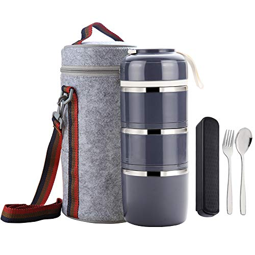 WORTHBUY Bento Lunch Box Stackable Stainless Steel Thermal Bento Box...