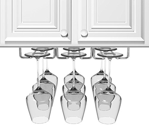 Sorbus Under Cabinet Wine Glass Rack and Stemware Holder – 3 Rows...