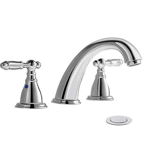 8 Inch 3 Hole Widespread Bathroom Faucet with Metal Pop Up Drain by...
