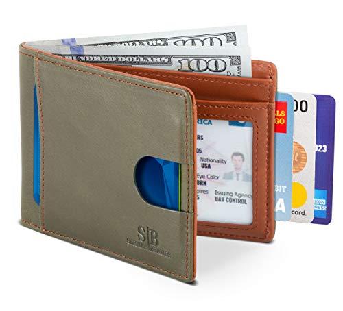 SERMAN BRANDS RFID Blocking Slim Bifold Genuine Leather Thin...