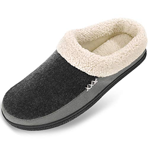 Men's Slippers Fuzzy House Shoes Memory Foam Slip On Clog Plush Wool...