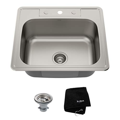 Kraus KTM25 25 inch Topmount Single Bowl 18 gauge Stainless Steel...