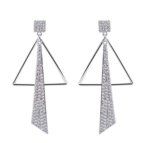 SILVERAL Silver Earrings for Women Crystal Triangle Irregular Geometry...
