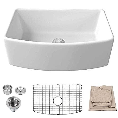 White Farmhouse Sink - Lordear 30 inch White Kitchen Sink Fireclay...
