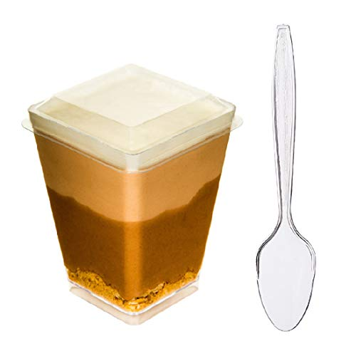 DLux 40 x 5 oz Mini Dessert Cups with Lids and Spoons, Square Large -...