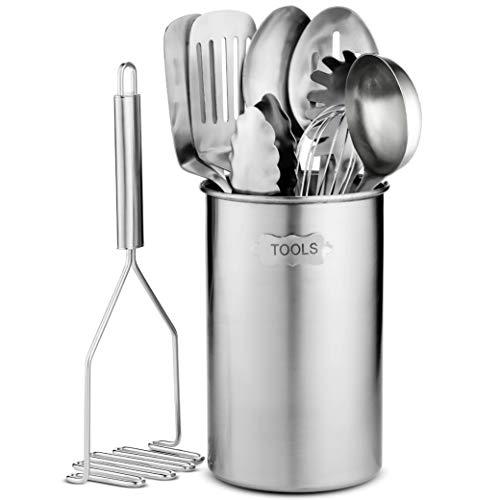 Stainless-Steel Kitchen Utensil Set - 10-piece premium Nonstick & Heat...