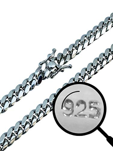 Real Solid 925 Sterling Silver Miami Cuban Chain - Heavy Men's 6mm Box...
