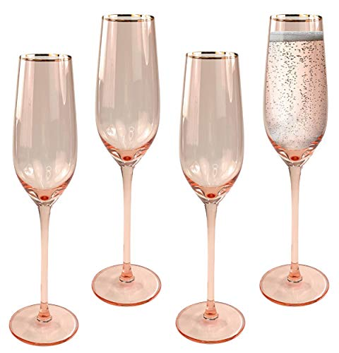 Champagne Flutes, Set of 4 - Modern Crystal Stemware and Flute Glasses...
