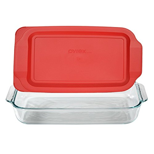 Pyrex Basics 3-qt Oblong with Red Cover KC12026, 2PK-3QT