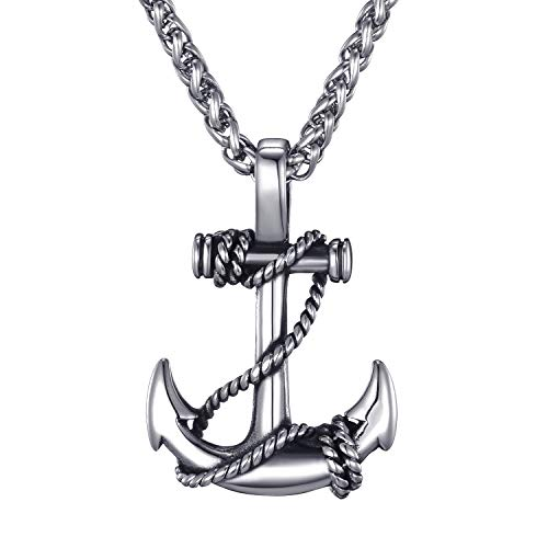 Mens Stainless Steel Nautical Anchor Necklace Vintage Navy Mooring...