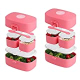 Stacking Bento Box Lunch Box 3 Compartments - Leakproof Bento Lunch...
