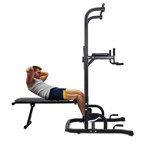 ONETWOFIT Multi-Function Power Tower with Sit Up Bench,Adjustable...