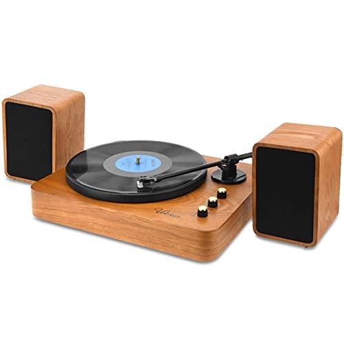 Voksun 3-Speed Precision Turntable with Dual 15 Watt Speakers, High...