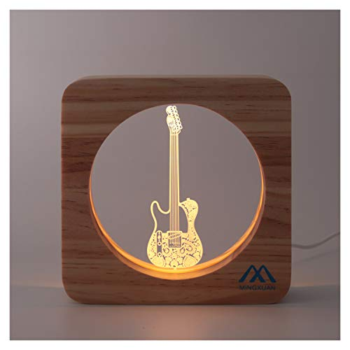 Creative Cute 3D Night Light Electric Guitar Wooded Frame USB Power...