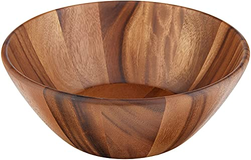 Lipper International Acacia Round Flair Serving Bowl for Fruits or...