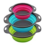 Qimh Collapsible Colander Set of 3 Round Silicone Kitchen Strainer Set...