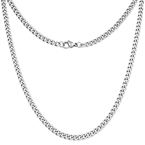 Silvadore 4mm Curb Mens Necklace - Silver Chain Cuban Stainless Steel...