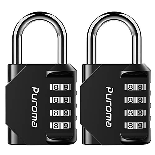 Puroma 2 Pack Combination Lock 4 Digit Outdoor Waterproof Padlock for...