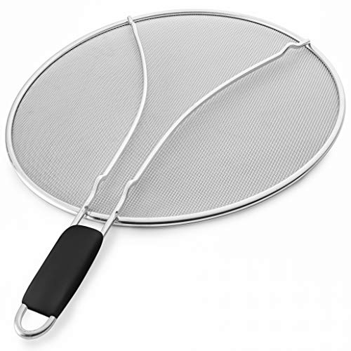 Bellemain Splatter Screen with Soft Grip Handle, Stainless Steel, Fine...