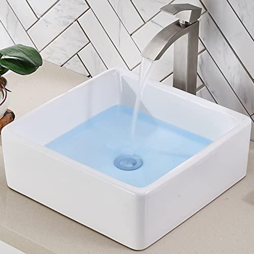 Friho 14.96''x14.96'' Modern Above Counter Square Vessel Vanity Sink...