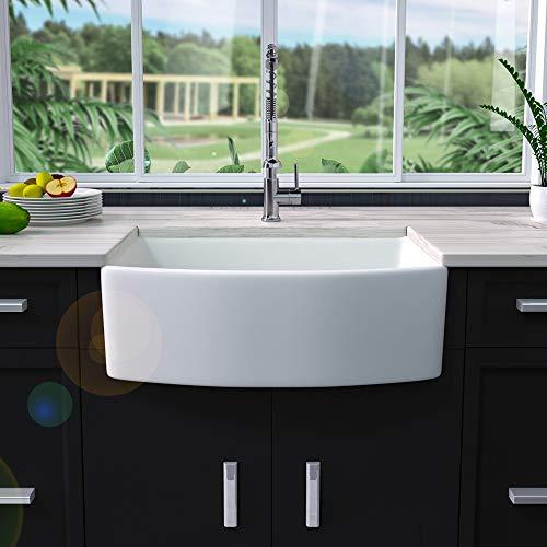 30 Farmhouse Sink White - Sarlai 30 Inch Kitchen Sink Arch Edge Curved...