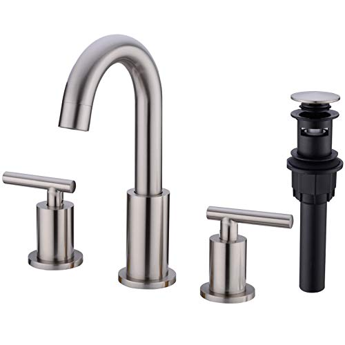 TRUSTMI 2-Handle 8 inch Widespread Brass Bathroom Sink Faucet with Pop...