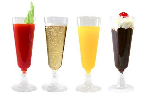 42 Champagne Flutes Premium 5.5 oz Clear Hard Plastic Disposable...
