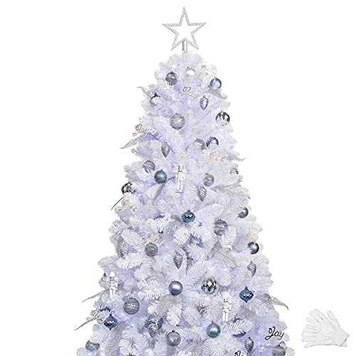 KI Store 6ft White Christmas Tree with Ornaments and Lights Remote and...
