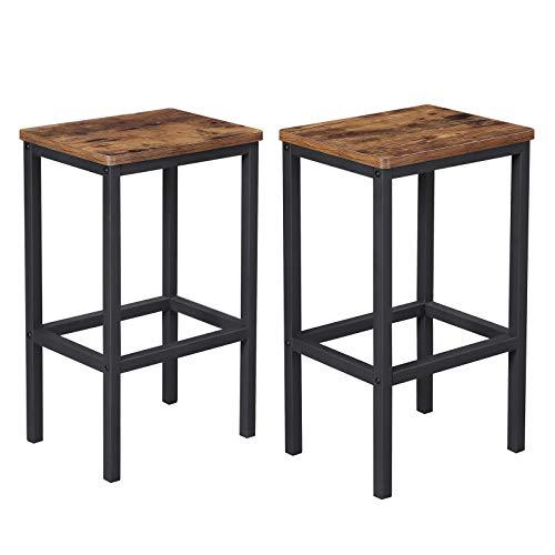 VASAGLE ALINRU Bar Stools, Set of 2 Bar Chairs, Kitchen Breakfast Bar...