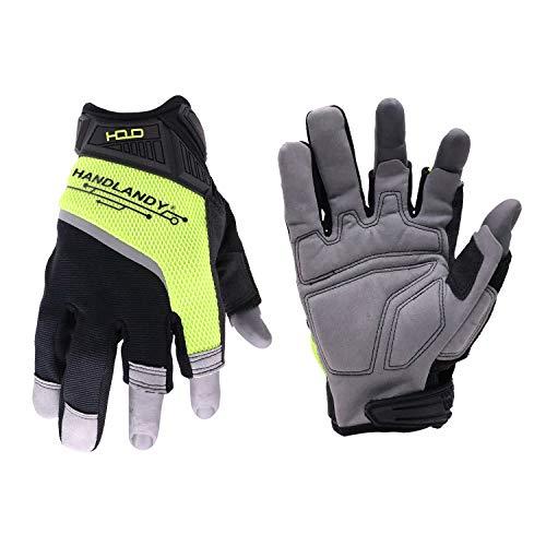 HANDLANDY Framer Work Gloves Open-Finger Carpenters Gloves,Dexterity...