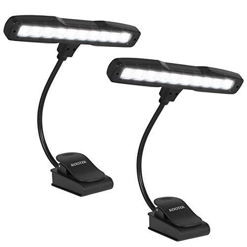 Kootek 2 Pack Clip On Reading Light - 10 LED Rechargeable Book Lights,...