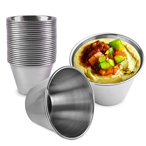 [24 Pack] 2.5 oz Stainless Steel Sauce Cups - Individual Round...