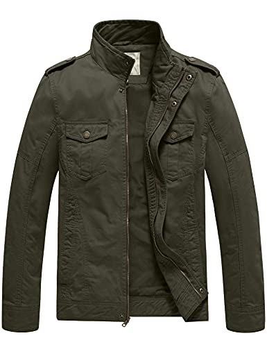 WenVen Men's Military Casual Cotton Jacket Outwear (Army Green, Small)