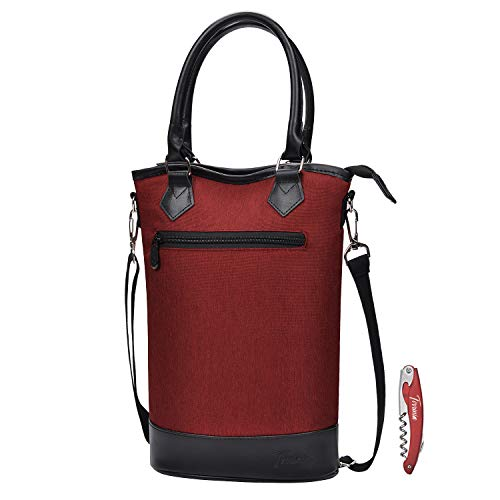 Tirrinia Insulated Wine Carrier Tote - Travel Padded 2 Bottle...