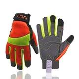 HANDLANDY Hi-vis Reflective Work Gloves, Anti Vibration Safety Gloves,...
