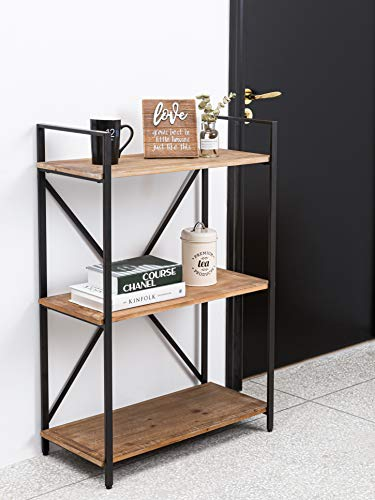 3 Tier Bookshelf Solid Wood Small Bookcase, Industrial Shelving Unit...
