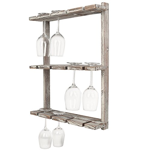 MyGift Distressed Barnwood Brown Wall Mounted 12 Wine Glass Holder...